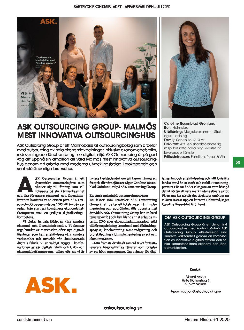 ASK Outsourcing uppmärksammas i månadens nummer av Affärsvärlden!